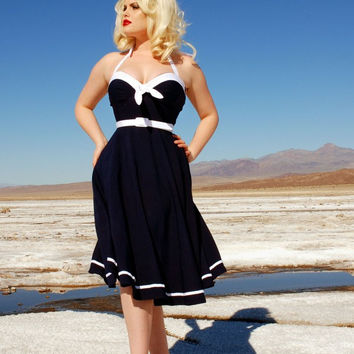 Sailor Swing Dress in Navy with White Trim by Pinup Couture