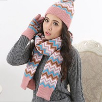 Autumn and winter Men and women fashion striped printed knited keep warm Scarf, Hat & Glove Sets K004