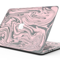 Marbleized Swirling Pink and Gray v3 - MacBook Pro with Retina Display Full-Coverage Skin Kit
