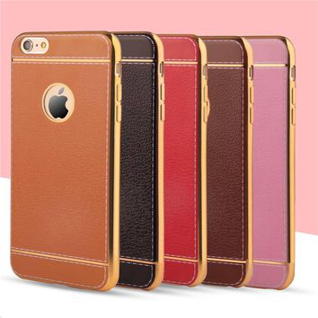 Luxury Leather Pattern Soft Rubber Phone Cases For iPhone 6 6s 7 Plus 4.7 5.5 Case