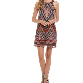 Jodi Kristopher Diamond Print Border-Hem Trapeze Dress | Dillards