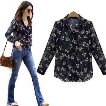 blusas femininas Women Button Down Tops Chiffon Long Sleeve Casual Flower Blouse Shirt S-XXL NW