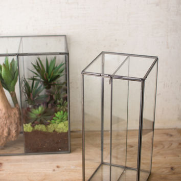 Small Slanted Top Glass & Metal Terrarium with Divider