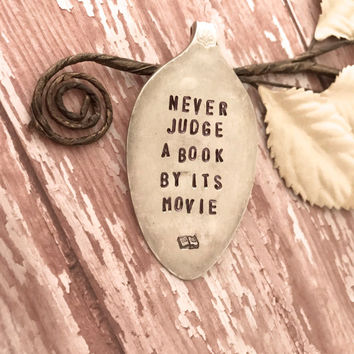 Bookmark, Bookmarks, vintage spoons made into Bookmarks, spoon place holders, Never judge a book by its movie, Bookmarks upcycled spoon