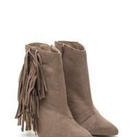 Just Fringe Pointy Faux Suede Booties