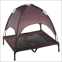 Elevated Pet Cot, with Canopy   Portable for Camping or Beach