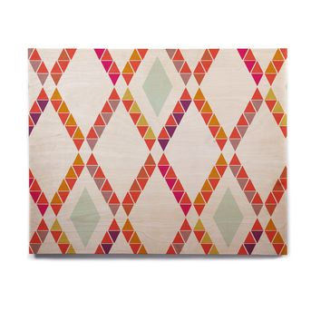 "Pellerina Design ""Aztec Diamonds"" Orange Geometric Birchwood Wall Art"