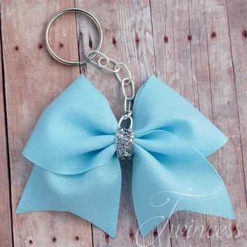 Cheer Bow Keychain Blue -Gifts for girls - Gifts for cheer teams - easter basket gift
