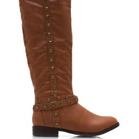 Stud-ly-Faux-Leather-Boots BLACK BORDEAUX CHESTNUT - GoJane.com