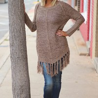 Better than Ever Sweater with Fringe ~ Brown