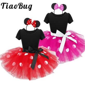 TiaoBug Cute Polka Dots First Communion Dresses for Girls Minnie Mouse Tutu Dress with Headband Princess Birthday Party Gowns