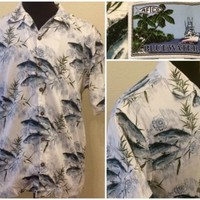 Mens AFTCO Bluewater Hawaiian Fishing Shirt Size Medium Cotton Blend Made USA