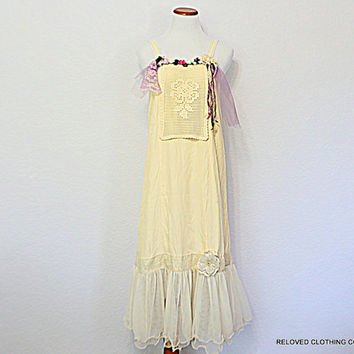 Repurposed Slip Dress Romantic Women's Junior's Mori Girl Clothing / Shabby French Upcycled Fashion Clothes by Reloved Clothing Co.