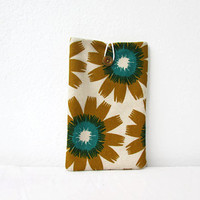 Fabric tablet cover, kindle sleeve, hand printed fabric, 7 inch tablet case, nexus 7, kindle fire, Samsung Galaxy Tab 7, handmade in the UK