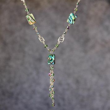 Abalone shell long lariat necklace Bridesmaids gifts Free US Shipping handmade Anni Designs