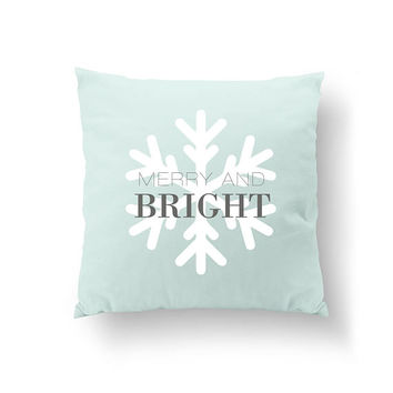 Merry And Bright, Turquoise Pillow, Christmas Decor, Xmas Gift, Snowflake Pillow, Throw Pillow, Home Decor, Cushion Cover, Decorative Pillow
