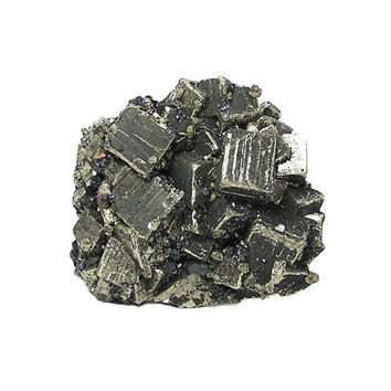 Pyrite with Druzy Galena and Sphalerite Ore metals mineral specimen, Striated Cubed Crystals mined in Mexico, Earth Science Geology Sample