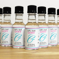 Custom Mini Bottle Liquor Labels & Empty 50 mL Bottles Spring Monogram Alcohol Party Wedding Favors Thank You Reception Guest Gifts EB-1018