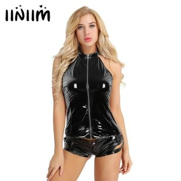 Sexy Women Fashion Wetlook Faux Leather Sleeveless Top Femme 2018 Halter Zipper Backless Punk Vest Tank Tops for Jeans Outfit