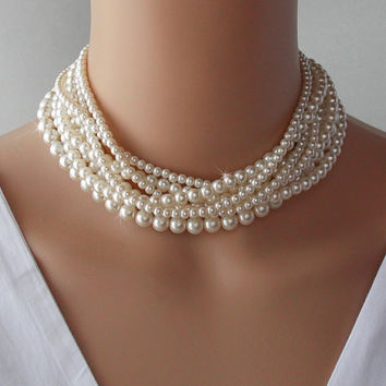 Wedding Necklace, Multi Strand Necklace, Pearl Necklace, Bridal Necklace, Bridal Jewelry, Choker Necklace, Statement Necklace - MADISON