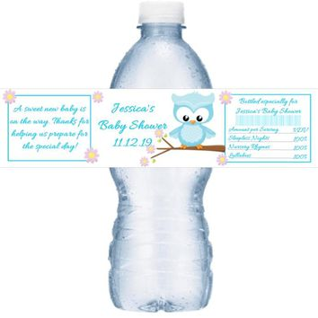21 Blue Owl Baby Shower Water Bottle Labels