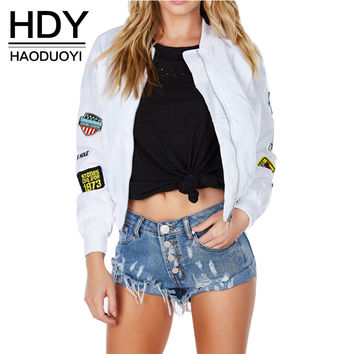 HDY Haoduoyi 2016 Autumn Fashion Women White Print Patched Bomber Jacket Zipper Fly Long Sleeve Short Coat