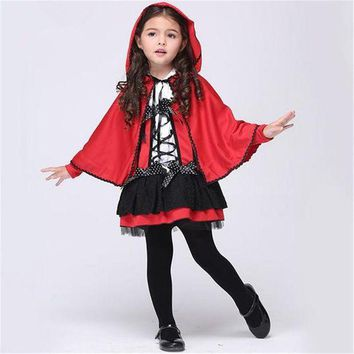 VONE05O Free shipping girls little red riding hood cosplay costume Dresses and  Cloak Halloween costume for children