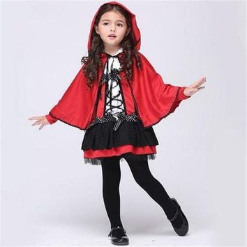 ONETOW Free shipping girls little red riding hood cosplay costume Dresses and  Cloak Halloween costume for children
