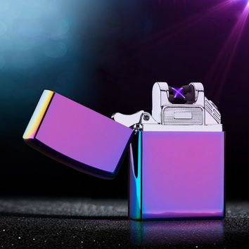 Cross Arc Lighter Double Pulsed Arc cigarette Lighter Windproof ciga Lighter Personality Electronics Usb Smoking Lighter