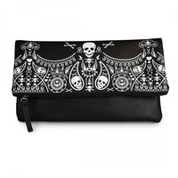 Rockabilly Biker Lady Black Bandana Skull Large Fold Over Clutch