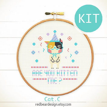Quote Kawaii cat cross stitch KIT - Are You Kitten Me? - cute cats kittens modern funny home decoration quote xstitch Special edition