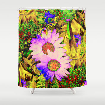 Hippy Power Neon Flowers Series Shower Curtain by RokinRonda