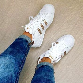 CREY9N Adidas' Fashion Shell-toe Flats Sneakers Sport Shoes White Golden