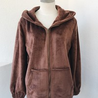 COCO HEAVY OUTER FLEECE JACKET- BROWN