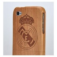 Amazon.com: Natural Handmade Hard Wood Bamboo Case Cover for Iphone 4/4s -Cherry Real Madrid: Cell Phones & Accessories