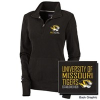 Mizzou Juniors' Tiger Head 1/4 Zip Black Sweatshirt
