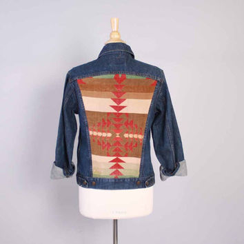 Vintage 80s LEVI'S JACKET / 1980s Custom Native American Navajo Blanket Back Patch Jean Denim S