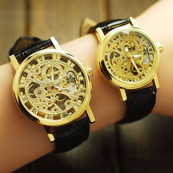 classic skeleton retro mechanical couple watch leather strap unisex sport = 1956413508