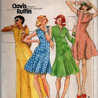 Retro Disco Style Maxi Dress 1970s Butterick Sewing Pattern Designer Clovis Ruffin Flared Skirt A-line Midi Dress Bust 32