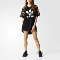 """Adidas"" Fashion Casual Female Letter Print Middle Sleeve Stitching Round Neck Loose Movement Mini Dress"