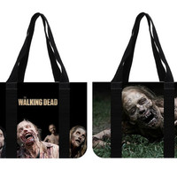 The Walking Dead Zombie Bycicle Girl Cotton Canvas Tote Bag (two sides)