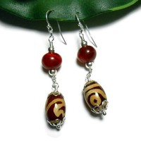 Jewelry Earrings Beaded Dark Rust Lampwork Resin Silver Fashion