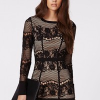 Missguided - Candy Lace Long Sleeve Mini Dress Black