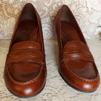 Womens Bass Leather Vintage 90s Wedge Penny Loafer Size 8M