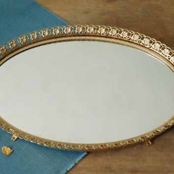 Mirrored Gold Vanity Tray