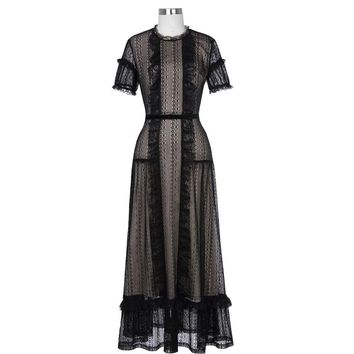 Short Sleeve Lace Evening Dresses Long with Belt Black Formal Evening Gowns Ankle Length