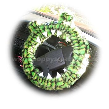 Fuzzy faux fur Crocodile reptile monster car steering wheel cover