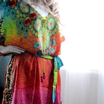 Kaftan dress lace up short embellished caftan dress relaxed fit gorgeous colors for beach or casual wear festival dress boho