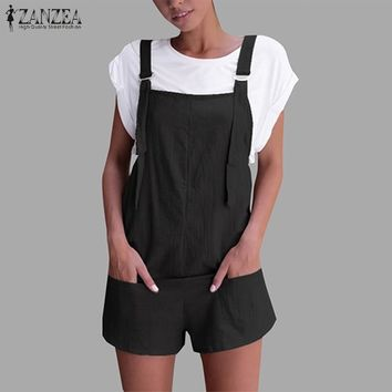 2018 ZANZEA Womens Casual Jumpsuit Vinage Overalls Female Summer Palazzo Pants Ladies Short Rompers Plus Size Playsuits Trouser