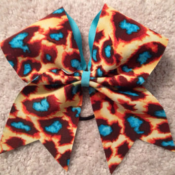 Orange and blue print cheer bow